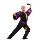 One caucasian man samba dancer dancing isolated on white in full length Royalty Free Stock Image