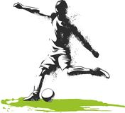 One caucasian soccer player man playing kicking in silhouette isolated on white background vector illustration