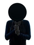 Woman cooking hiding behind frying pan silhouette Royalty Free Stock Photo