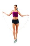 One caucasian woman jogger jumping rope Stock Photos