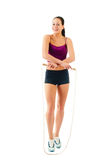 One caucasian woman jogger jumping rope Royalty Free Stock Images