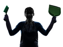 Woman maid housework silhouette Stock Photos