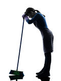 Woman maid housework  tired brooming silhouette Royalty Free Stock Photo