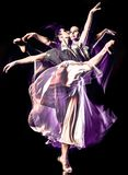 Odern ballet dancer dancing woman isolated black bacground royalty free stock photos