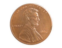 One cent. Coin with Lincoln bas-relief on white Stock Images