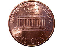 One cent coin. Backside of an American penny isolated on white background stock image