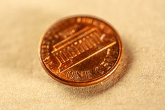 One cent coin. Of american currency closeup Stock Photos