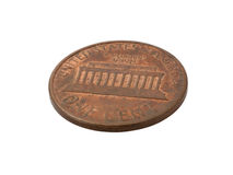 One cent coin. Close up of one cent coin over white Royalty Free Stock Photography