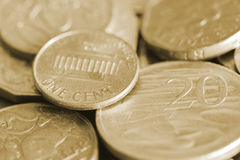 One cent coin close up shot. One cent coin close up Stock Image