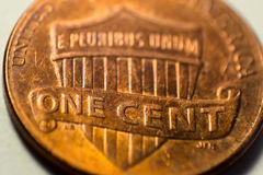 One cent coin. Photo one cent coins in closeup Royalty Free Stock Photo