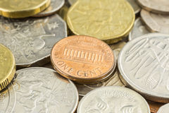 One cent coin US, world coins and money. Close up money and world coins focus on one cent coin of United states of america Stock Photography