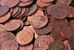 One Cent Coins. A closeup photo taken on many singapore one cent coins. Its the cents that make up the dollars Stock Photography