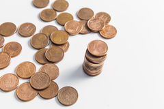 One cent euro coin currency column isolated on a white background Stock Photography