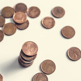 One cent euro coin currency column isolated on a white background Royalty Free Stock Photo