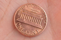 One cent in hand. One cent - United States of America Stock Photos