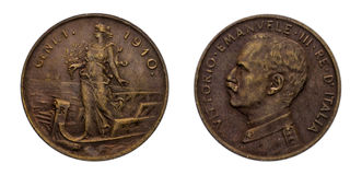 One 1 cent Lire Copper Coin 1910 Prora Vittorio Emanuele III Kingdom of Italy. Mint of rome,Italy on boat on front and Vittorio Emanuele III head on back Royalty Free Stock Photo