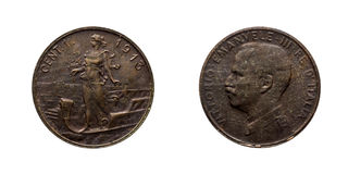One 1 cent Lire Copper Coin 1913 Prora Vittorio Emanuele III Kingdom of Italy. Mint of rome,Italy on boat on front and Vittorio Emanuele III head on back Royalty Free Stock Images