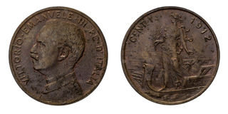 One 1 cent Lire Copper Coin 1912 Prora Vittorio Emanuele III Kingdom of Italy. Mint of rome,Italy on boat on front and Vittorio Emanuele III head on back Royalty Free Stock Image