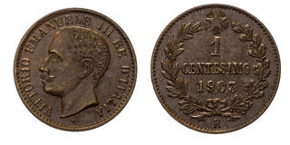 One 1 cent Lire Copper Coin 1903 Value Umberto I Kingdom of Italy. Mint of Rome, Umberto I Head of Front, Value laurel on Back Royalty Free Stock Photos