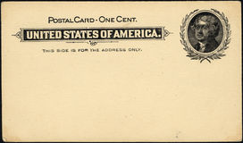 One cent postcard. Vintage 19th century penny postcard has not been posmarked Royalty Free Stock Images