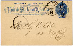 One cent postcard a. One cent 19th century US postcard postmarked 1893 great aged look Stock Images