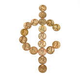One Cent Sign. Lincoln head pennies arranged in a cent sign Royalty Free Stock Images