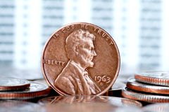 One cent US coin Royalty Free Stock Photos