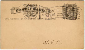One cent US postcard c. One cent US postcard with 1907  postmark Vermont station N.Y. great aged look Stock Photos