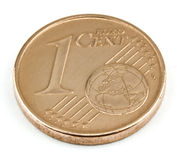 One cent on a white background. Stock Image