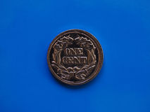 One cent year 1857 over blue Stock Image
