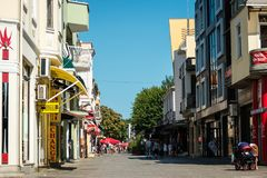 One of the central shopping streets of the seaside city. Royalty Free Stock Photo