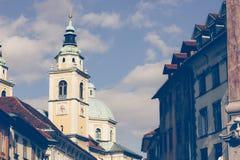 One of the central streets the city Ljubljana, Slovenia Stock Photography