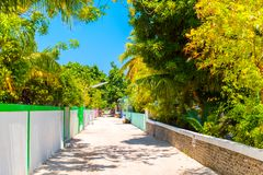 One of the central streets of small tropical island Hangnaameedhoo, Maledives. Copy space for text stock images