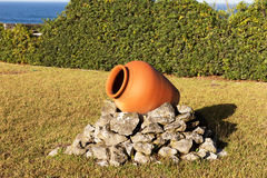 One ceramic pot in the garden Royalty Free Stock Images