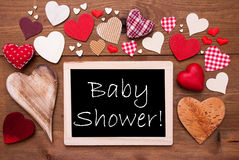 One Chalkbord, Many Red Hearts, Baby Shower Royalty Free Stock Images