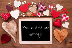 One Chalkbord, Many Red Hearts, You Make Me Happy Royalty Free Stock Photo