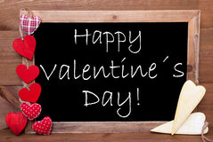 One Chalkbord, Red And Yellow Hearts, Happy Valentines Day Royalty Free Stock Photography