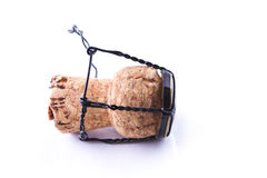 One Champagne cork. With white background Royalty Free Stock Images