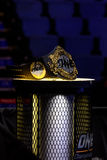 One Championship Belt at podium stand in  One Championship. BANGKOK - MARCH 11 : One Championship Belt at podium stand in One Championship `One : Warrior Stock Image