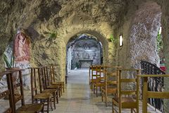 One of the chapels of the Cave Church in the Gellert Hill Cave in Budapest, Hungary Stock Images