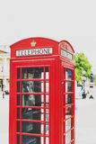 One of the characteristic red phone box in Central London Stock Photos