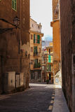 One of the charming narrow street in historic center of Palma de Mallorca Stock Photo