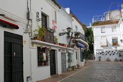 One of the charming narrow streets in the old town of Marbella, Andalusia, Spain Royalty Free Stock Image