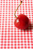 One cherry. On red gingham cloth Royalty Free Stock Image