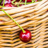 One cherry hanging on wicker basket Stock Images