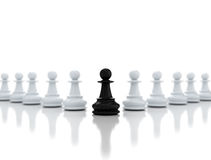 One chess pawn in the front - leadership Royalty Free Stock Photo