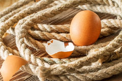 One chicken egg with a rope. Royalty Free Stock Images