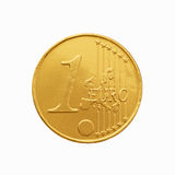 One chocolate euro coin in a yellow wrapper Stock Image