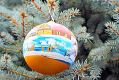 One christmas ball handing on a tree. Stock Images
