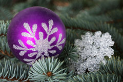 One christmas ball over tree. Stock Images